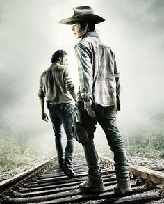 Rick Grimes and Carl Grimes walking on the rails ● Season 4 | The Walking Dead