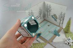 Bildergebnis für stampin up anleitungen pdf Stampin Up Christmas, Christmas Cards, Christmas Themes, Card In A Box, Box Cards Tutorial, Cadeau Surprise, Exploding Box Card, Up Book, Fabric Toys