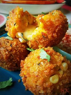 Cheese-Filled Plantain and Corn Fritters. Hispanic Kitchen
