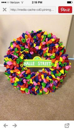 Sesame Street wreath First Birthday Parties, First Birthdays, Sesame Street Decorations, How To Make Wreaths, Birthday Wreaths, Sprinkles, Wreath Making, Candy, Theme Ideas