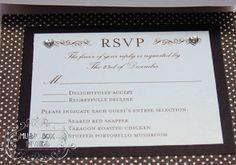 Musical Wedding or Party Invitation and RSVP Card in Damask Brocade Black silver and white. Comes in Musical Box that Sings! Singing Music boxed invite. Totally custom, high end/class, couture, elegant invite.