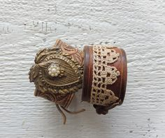 Victorian Tooled Leather Cuff Bracelet oversized ornate vintage piece and lace by AFOLKTALE