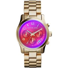 fbc836c279f Michael Kors Mid-Size Golden Stainless Steel Runway Chronograph Watch  ( 205) ❤ liked