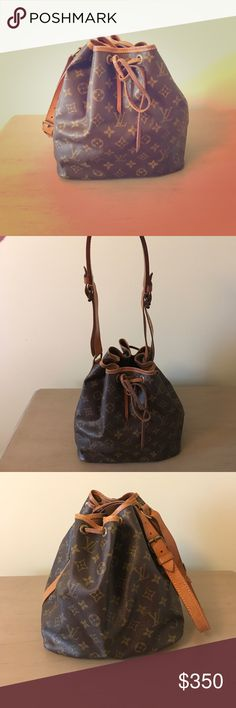 Louis Vuitton Petite Noe Purse This petite noe is a great shoulder bag for someone how likes to throw things in their bag and go. Minor stain on the inside but nothing major. This bag comes from a smoke free home. The leather string that holds the bag closed has seen better days but still works! I haven't used this bag in years, so it's been safely tucked away. Straps on the bag are adjustable! Louis Vuitton Bags Shoulder Bags