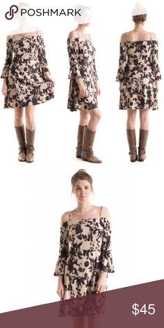 Bell Sleeve Floral Printed Cold Shoulder Dress 95% Polyester, 5%Spandex. Super soft and comfy. Dresses Midi