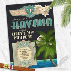 Havana Nights Birthday Party Invitations