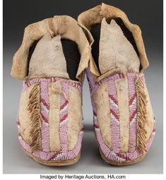 American Indian Art:Beadwork and Quillwork, A Pair of Cheyenne Beaded Hide Moccasins. American Indian Art, American Indians, Native American Moccasins, Moccasin Boots, Tribal Art, Ballet Shoes, Baby Shoes, Auction, Footwear