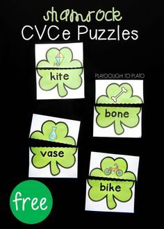 """Activity for ages 5 to 7. Learning to read is so exciting and, once kids build up confidence with their CVC words, they may be ready to tackle those """"Magic E"""" long vowel words. These Shamrock CVCe puzzles are great to add to your St. Patrick's day themed learning activities if your kids are ready …"""