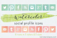 Free Download: Social Media Icons (Glitter vs Watercolor edition!)