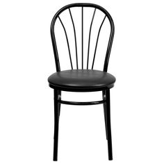 """Jericho"" is a nice black metal restaurant chair in contemporary style. It has solid steel frame and vinyl upholstered seat, which makes them resistant to weathering, perfect for use in patio areas, beer gardens and pavement settings."