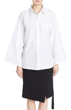 MICHAEL KORS Front Button Flared Sleeve Cotton Shirt. #michaelkors #cloth #