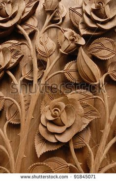 Rose Flower Thai style Teak wood carving Door in Chiangmai Thailand