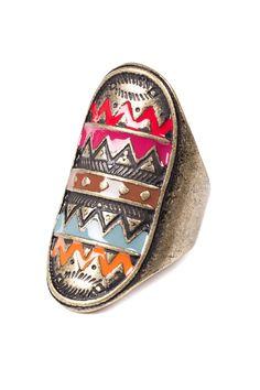 Coloured Aztec Ring