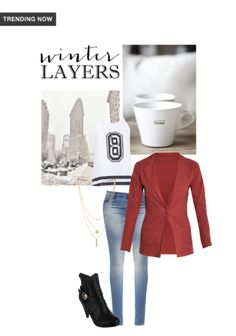 Winter layers - buy black boots, gold necklaces, blue jeans, blazers with white tops scrapbook look by padmini Preppy Winter Outfits, Winter Outfits For School, Casual Outfits, Black Knee Length Boots, Black Boots, Casual Skirts, Casual Jeans, Curvy Outfits, Jeans Brands