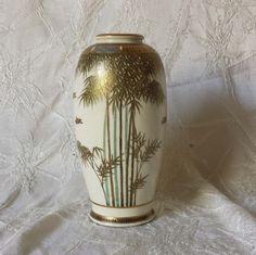 """Antique Petite Japanese Satsuma Vase Bamboo Bird Design Signed 5"""""""