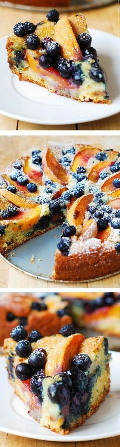 Peach and Blueberry Greek Yogurt Cake ~ If you love not too harmful desserts you will want to try this recipe for peach and blueberry Greek yogurt cake! More