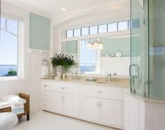 "Bathroom. Coastal Bathroom. I am loving this coastal Bathroom! #Bathroom  Paint color is ""Benjamin Moore Palladian Blue HC-144″ – a very soothing yet not boring blue."