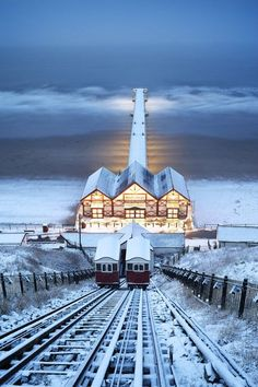 Saltburn Cliff Lift in the Snow, Saltburn-by-the-Sea, North Yorkshire, England