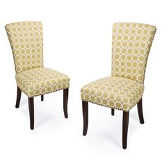 Furnistar Green Floral Living Room Side Chairs / Dining Chair With Birch  Legs (Set Of