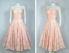 Vtg 1950s Blush Pink Lace Prom Party Wedding Dress w Sheer Sweetheart Neck   ffb00f7233a5