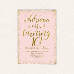 Teen birthday party invite blush pink gold by DiyPartyStudio
