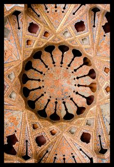 Ceiling of the Music room of the Aliqapoo palace. Isfahan, Iran
