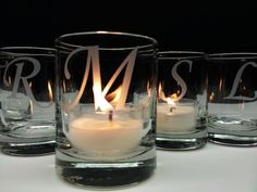 24 Monogram Candle Holders Engraved Glass by daydreemdesigns