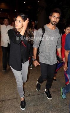Shahid Kapoor returns to India with wife Mira Rajput. #Bollywood #Fashion #Style #Beauty #Hot