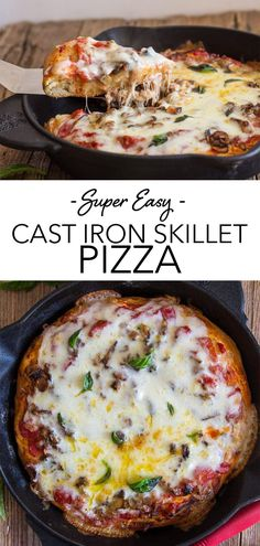 Easy Cast Iron Skillet Pizza, this deep dish Pizza Recipe is made with a simple sauce and a tasty filling