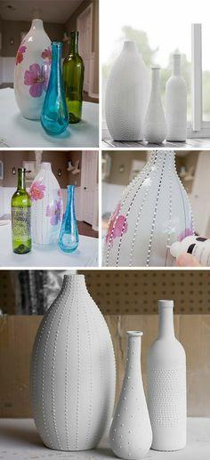 Piensa verde, recicla botellas y decora #recicla #verde #planetafeliz http://ideasparadecoracion.com/piensa-verde-recicla-y-remodela-tus-botellas-y-jarrones/