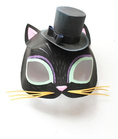 Black cat mask template and mini paper top hat template!