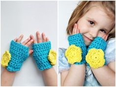 Children's Crochet Gloves Fingerless Spring Flower Modern Blue and Yellow. $22.00, via Etsy.