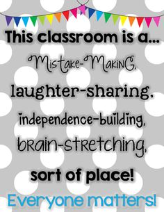 Freebie Classroom Community Building Poster  The same theme applies at home to our homework area. Need to make something like this to remind my munchkins (and a reminder to us parents sometimes too).