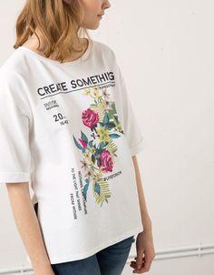 Bershka floral and text sweatshirt - Woman - Bershka United Kingdom