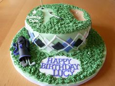 Golf Birthday Cake with Golf Bag and clubs made by Bakedy Cake Happy Birthday Lucy, Golf Birthday Cakes, Sport Cakes, Golf Bags, Desserts, Sports, Food, Tailgate Desserts, Hs Sports