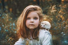 Ema and hedgehog... - small girl with cute hedgehog.. in flowers and sunset photo, autumn, falls