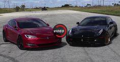 Tesla Model S P100D Seeks Spotlight By Taking On Stock Ferrari FF #Drag_Racing #Ferrari