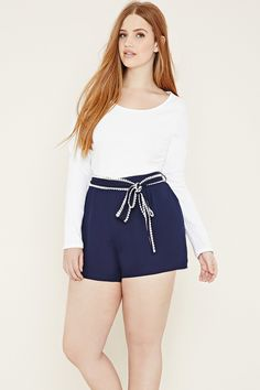 Plus Size Belted Shorts | Forever 21 PLUS - 2000151846