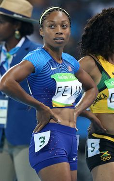 Allyson Felix of USA looks on following the women's 400m on day 8 of the Rio…