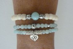 beach mermaid - ivory bone beads - aqua jade - stretch bracelet