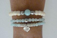 beach mermaid - ivory bone beads - aqua jade - stretch bracelet