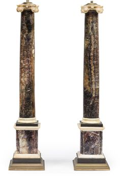 A pair of Regency Blue John, alabaster and black marble columns early century ; with later brass bases and top mounts. Pedestal, Castleton Derbyshire, John Stones, Marble Columns, Antique Clocks, Objet D'art, Grand Tour, Black Marble, Regency
