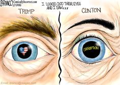 Hillary and Trump, looking into their eyes, the window of the soul. Political cartoon by A.F. Branco