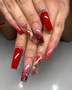 Aycrlic Nails, Bling Nails, Swag Nails, Coffin Nails, Red Acrylic Nails, Acrylic Nail Designs, Red Nail Designs, Stiletto Nail Art, Pastel Nails