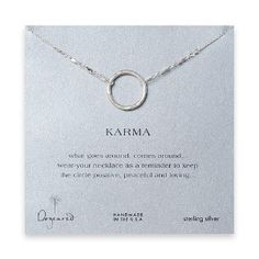 karma necklaces are made to remind you that what goes around comes around. Keep your circle bright and positive.