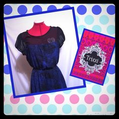 Trixxi Black and Blue printed dress This cutie is the perfect multipurpose dress.   Whether for the office or for a sweet date, this dress will not let you down.  Size M, higher in the front. Trixxi Dresses High Low