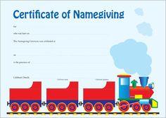 Naming Certificate - Train design. Name Day, Australian Art, Certificate, Names, Chart, Train, Map, Design, Saint Name Day