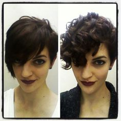 I don't usually pin photos of myself but I just got a pixie! The curly hair is natural, I'm so glad it works :)