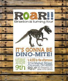 This listing is for a digital file. No physical product will be sent to you.    This listing is for a cool Dinosaur birthday invitation.
