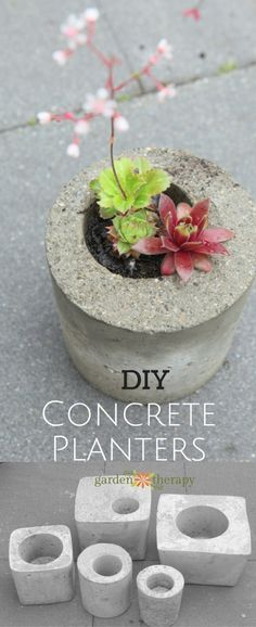 These DIY concrete garden planters are simple to make in just a weekend and with. These DIY concrete garden planters are simple to make in just a weekend and with molds made from materials you may already have around the house. Diy Concrete Planters, Concrete Crafts, Concrete Projects, Concrete Garden, Diy Planters, Garden Planters, Planter Pots, Concrete Cement, Recycled Planters